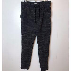 Express Marled Gray Black Jogger Skinny Sweatpants